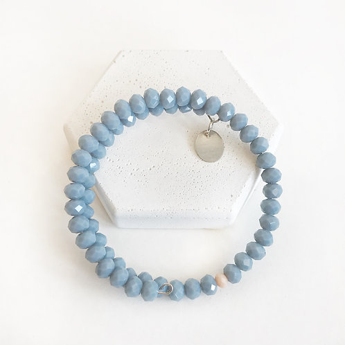 Stacking Bracelet - Blue/Grey with Peach