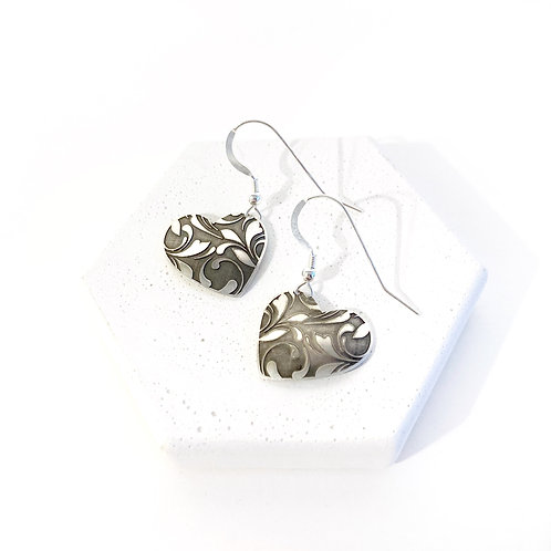 Earrings - Silver Filigree Hearts