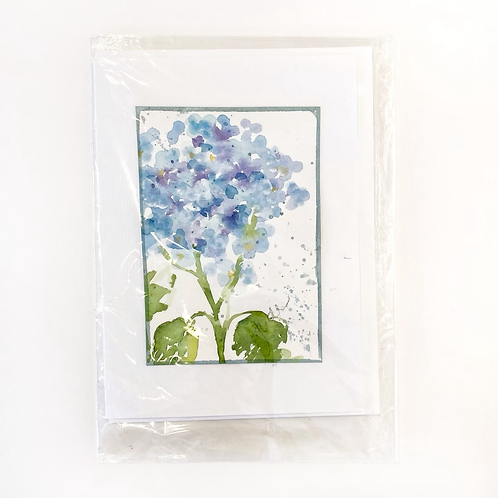 "Original Art Card - Hydrangea #1, 5"" x 7"