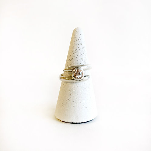 Ring - Silver Split Band with Stone