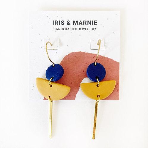Earrings - Medium Navy & Mustard Statement Drops