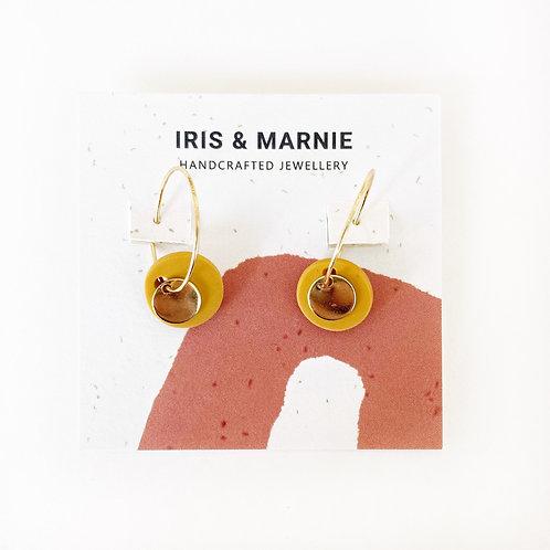 Earrings - Small Mustard Circle Drops