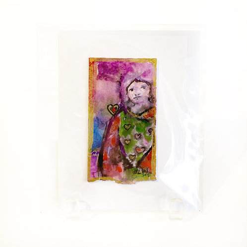"""Original Art Card - My Heart Goes Out To You, 4"""" x 6"""""""