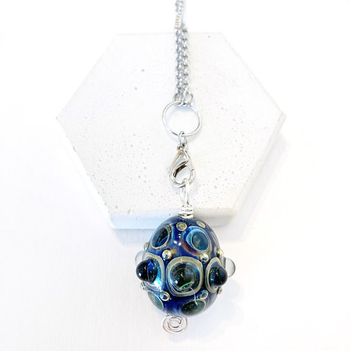 Detailed Pendant - Navy & Clear
