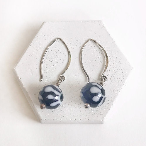 Lampwork Earrings - Black & White