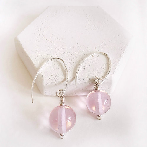 Lampwork Earrings - Pink Translucent