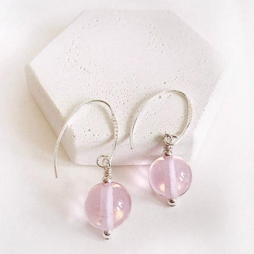 Lampwork Earrings - Pink Translucent
