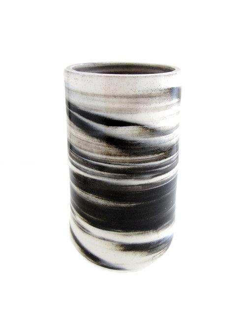 """Black & White Vase, 3 1/2"""" x 6 1/2"""""""