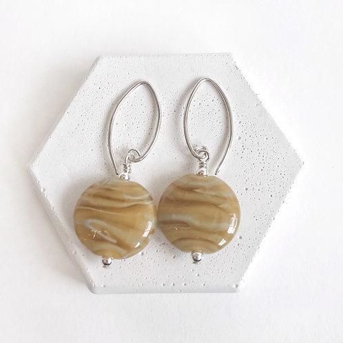 Lampwork Earrings - Caramel Swirl