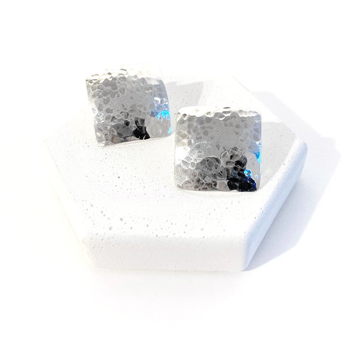 Earrings - Silver Medium Textured Squares
