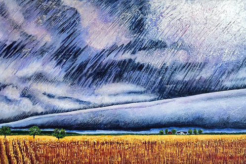 """Approaching Storm Over Harrow, 20"""" x 30"""""""