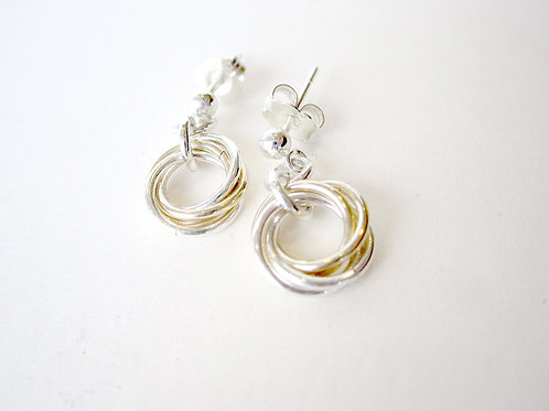 Earrings - Silver & Yellow Gold Mobius Collection Studs