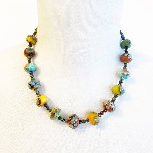 Lampwork Bead Necklace - Earth Tones