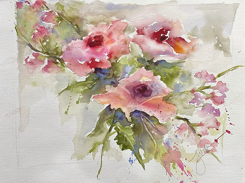 """Janet's Roses, 15"""" x 19"""""""