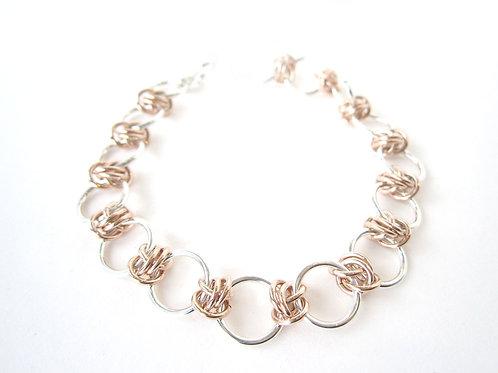 Bracelet - Silver & Rose Gold Dainty Barrel