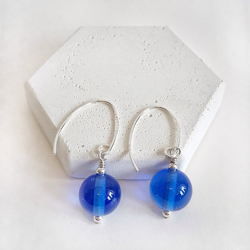 Lampwork Earrings - Blue Translucent