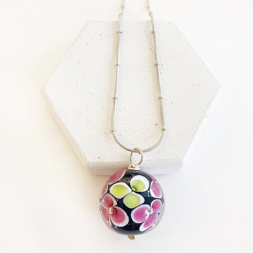 Encased Flower Pendant - Black with Pink & Yellow