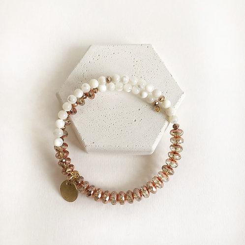 Semi-Precious Bracelet - White & Rose Gold