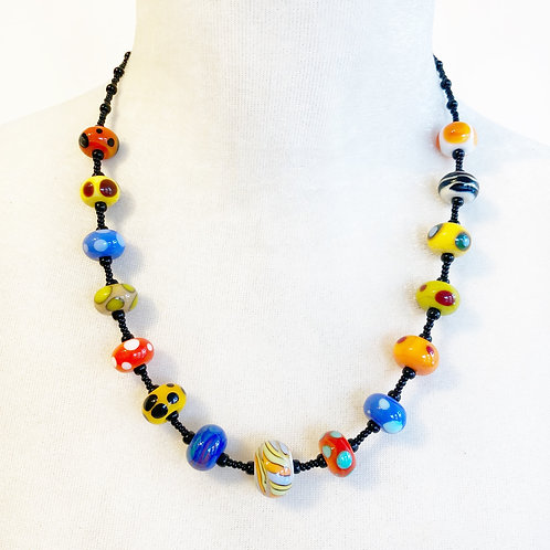 Lampwork Bead Necklace - Bright Multi-Colours