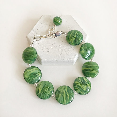 Lampwork Bracelet - Green Striation