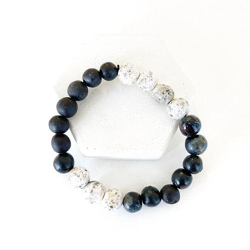 Bracelet  - Matte Black and White with Speckles