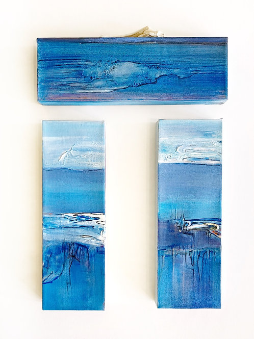 """Ancient Waters, Triptych, 4"""" x 12"""" each"""