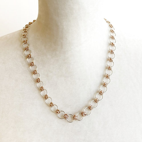 Necklace - Silver & Rose Gold Dainty Barrel