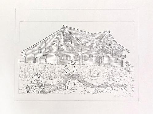 "Russian Farm House By The Sea, 11"" x 14"""