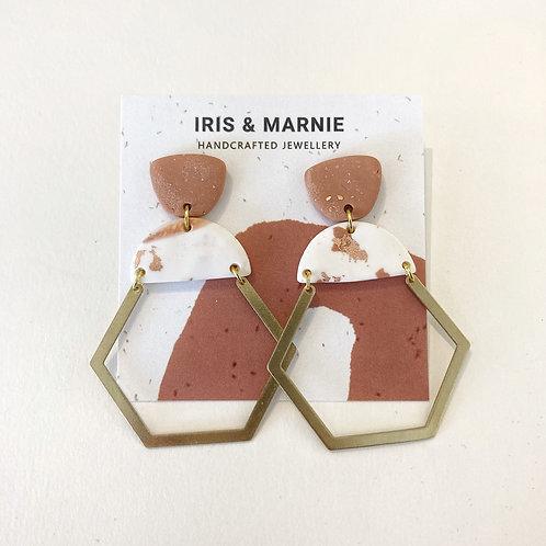 Earrings - Tan & Rose Gold Hexagon Drops