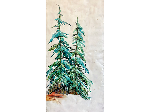 "Winter Pine, 12"" x 24"""