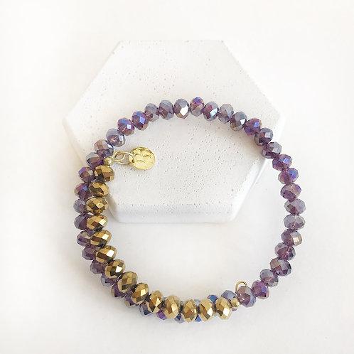 Stacking Bracelet - Purple & Dark Gold