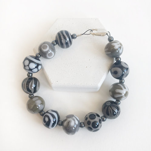 Lampwork Bracelet - Black, Grey & White