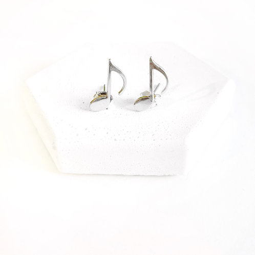 Earrings - Silver Music Notes