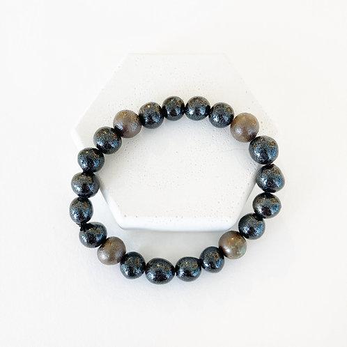 Bracelet - Sparkly Black and Metallic Brown