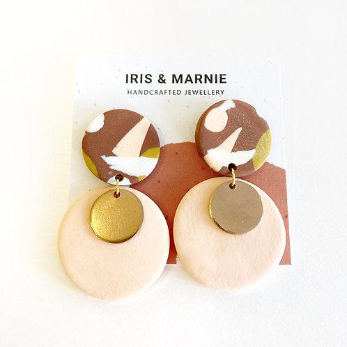 Earrings - Pink & Brown Terrazzo Drops