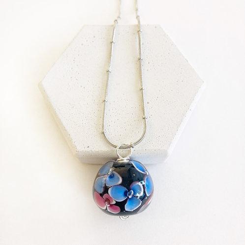 Encased Flower Pendant - Blue & Pink