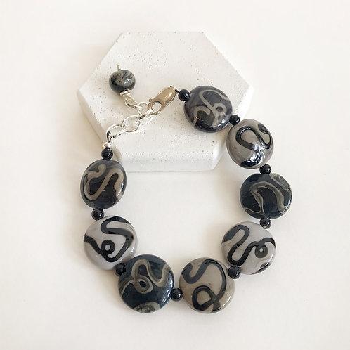 Lampwork Bracelet - Grey Black Squiggle