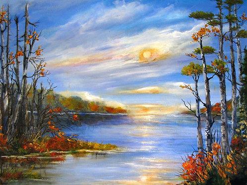 "Sunset Reflections, 24"" x 30"""