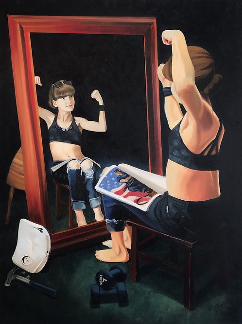 """Girl At The Mirror, 30"""" x 40"""""""