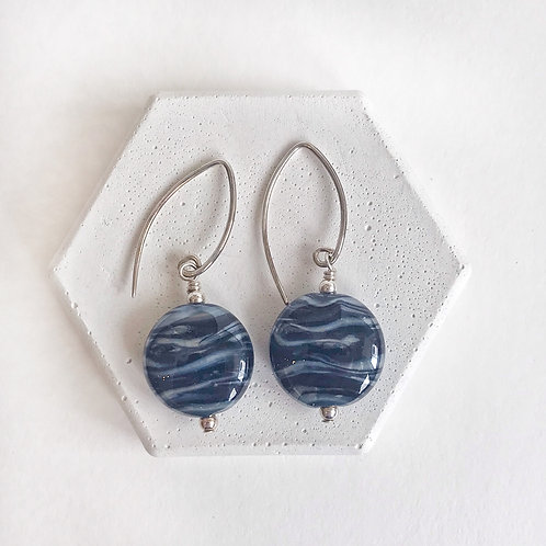 Lampwork Earrings - Navy & Silver Swirl