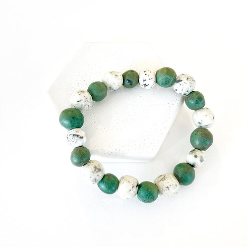 Bracelet - Green & White with Speckles