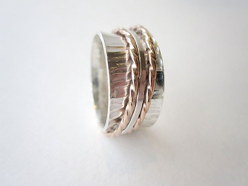 Twisted Meditation Ring - Silver & Rose Gold