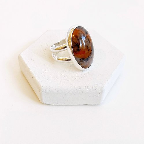 Ring - Silver Cabochon with Agate