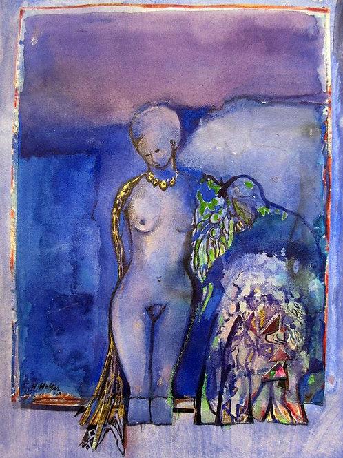 """Blue Lake Lady, 16"""" x 19"""""""