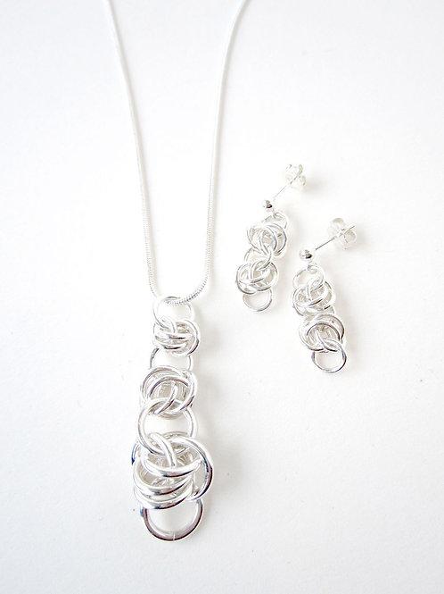 Silver Necklace Set - Silver Barrel