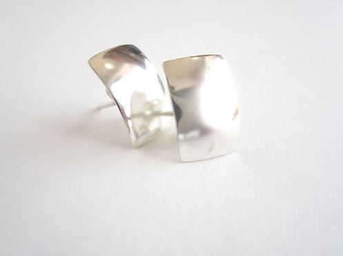 Earrings - Silver Rectangle Studs