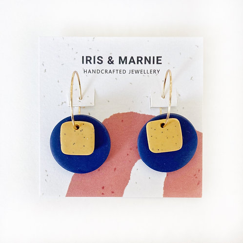 Earrings - Small Navy & Mustard Circle Drops