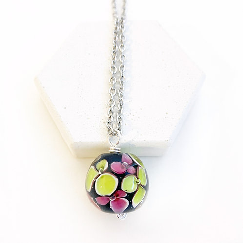 Encased Flower Pendant - Black with Green & Pink