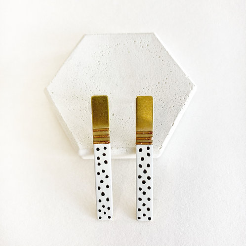 Earrings - Gold with Black & White