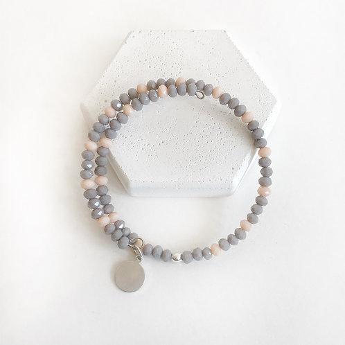Stacking Bracelet - Grey & Peach